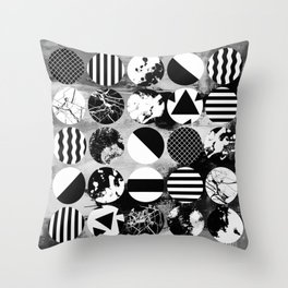 Eclectic Circles - Black and white, abstract, geometric, textured designs Throw Pillow