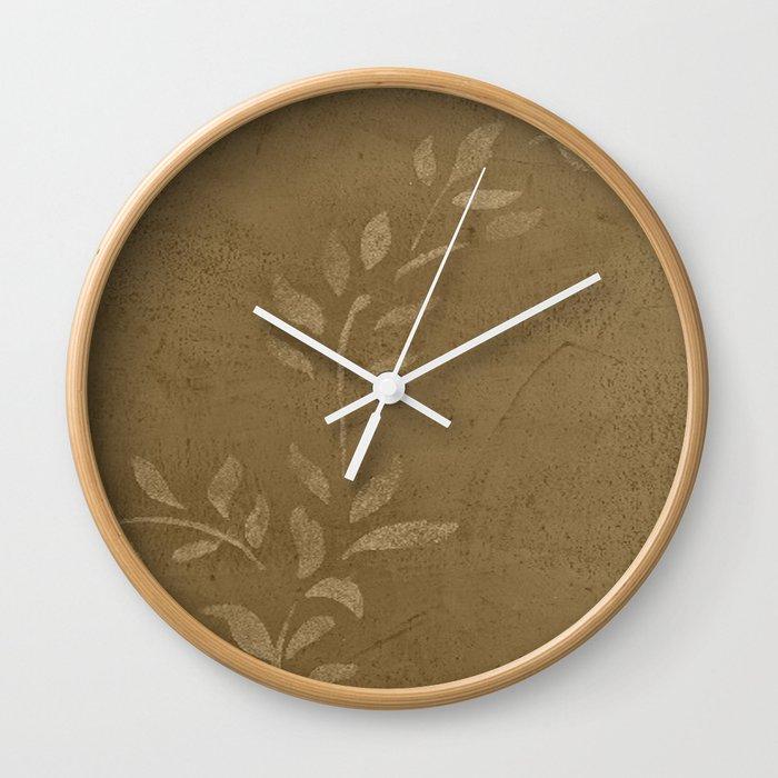 5c360c84375c Sepia Vine Vintage Floral - Rustic - Hygge - Modern - Vintage - Farmhouse -  Corbin Henry Wall Clock by corbinhenry | Society6