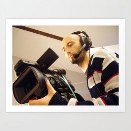 television cameraman with video camera Art Print