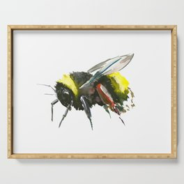 Bumblebee, minimalist bee honey making art, design black yellow Serving Tray