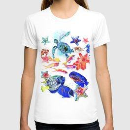 Sea World,Underwater Scene coral sea, beach tropical ocean sea beach house design T-shirt