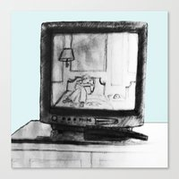 tv Canvas Prints featuring Television by Brontosaurus