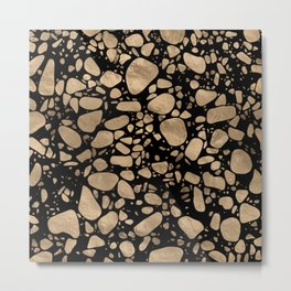 Terrazzo - Mosaic - gold on black Metal Print