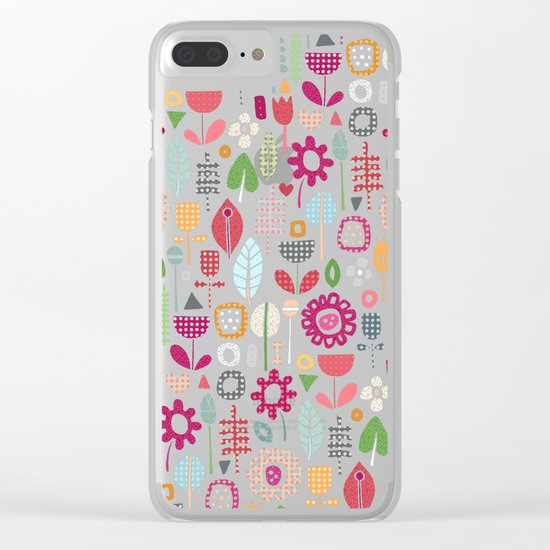 paper cut flowers silver Clear iPhone Case