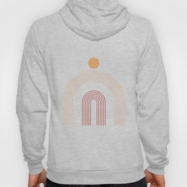 Geometric Lines in Terracotta and Beige 14 (Rainbow and Sun Abstract) Hoody