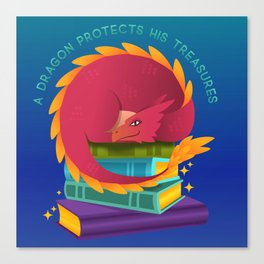 A Dragon Protects His Treasure blue version Canvas Print
