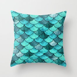 Mermaid Scales Turquoise Throw Pillow