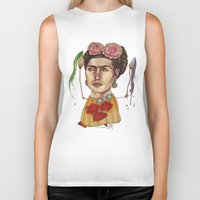 frida Biker Tanks featuring FRIDA by busymockingbird