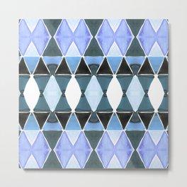Art Deco Triangles Light Blue Metal Print