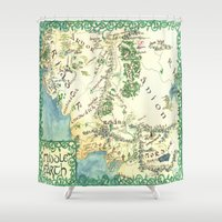 middle earth Shower Curtains featuring Middle Earth map by Ioreth
