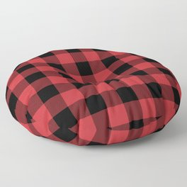 Red and Black Buffalo Plaid Lumberjack Rustic Floor Pillow