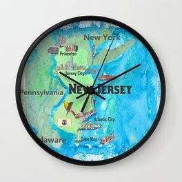 USA New Jersey State Travel Poster Map with Touristic Highlights Wall Clock