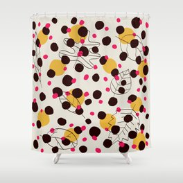 Dots + leaves Shower Curtain