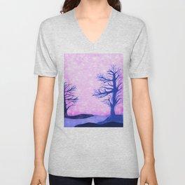 Blue ghost trees on pink speckled sky Unisex V-Neck