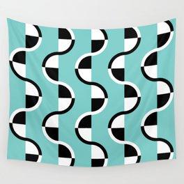 Geo Modern - Geometric Pattern Blue Black White Wall Tapestry