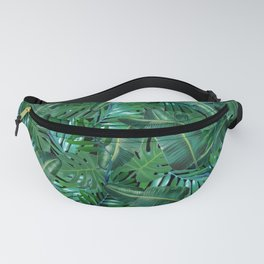 Tropical Palm Tree Leaf Pattern - Black BG Fanny Pack