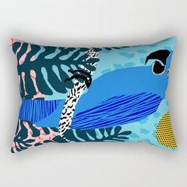 Steaz - memphis throwback tropical retro minimal bird art 1980s 80s style pattern parrot fashion Rectangular Pillow