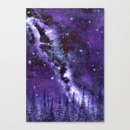 """Purple & Payne's Grey Milky Way Galaxy"" watercolor landscape painting Canvas Print"