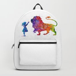 Girl and Lion Art Kids Gift Colorful Watercolor Art Animal Lovers Gift Backpack