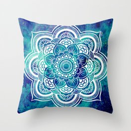 Galaxy Mandala Turquoise Teal Indigo Throw Pillow