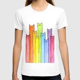 Nursery-Art-Print-Cat-Rainbow-Whimsical-Animals T-shirt
