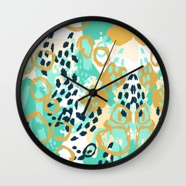 Silas - abstract print in mint, green, mustard navy Wall Clock