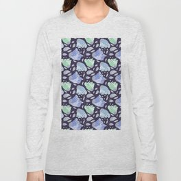 Modern abstract mint pastel purple floral illustration Long Sleeve T-shirt