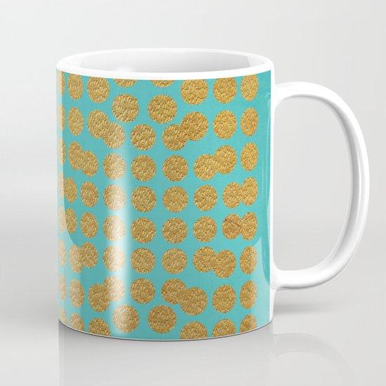Gold Dots on Turquoise Coffee Mug