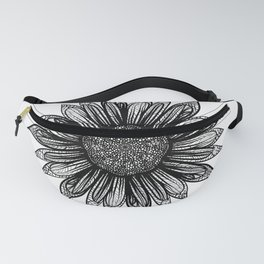 Intricate Black and White Drawing Sunflower Mandala Fanny Pack
