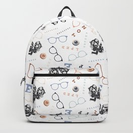 Optometry on White Backpack
