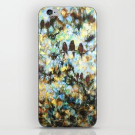 """Rondo"" oil painting of birds in abstract trees and sky iPhone Skin"