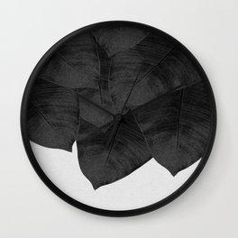 Banana Leaf Black & White I Wall Clock