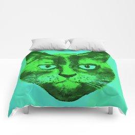 green head cat Comforters