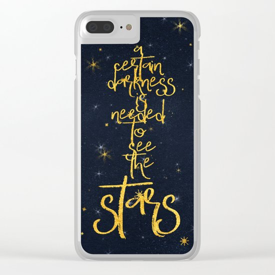 Darkness-Stars - sparkling night gold glitter effect typography on #Society6 Clear iPhone Case