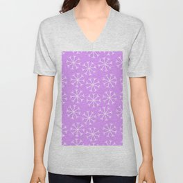 Hand painted modern lilac white Christmas snow flakes Unisex V-Neck