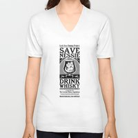 whisky V-neck T-shirts featuring Save Nessie, Drink Whisky! by stieven