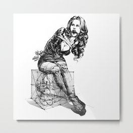 Composition with Lady Metal Print