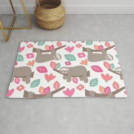 cute cartoon sloth seamless pattern background with colorful leaves and flowers Rug