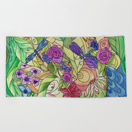 Stained Glass Garden Too Beach Towel