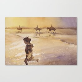 Watercolor painting of child and horses on beach on Ocracok Island at sunset- Outer Banks, North Car Canvas Print