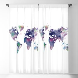 Watercolor World Map Blackout Curtain