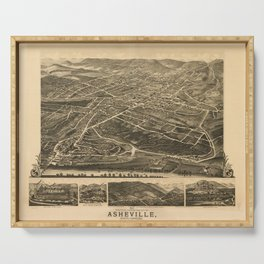 Vintage Pictorial Map of Asheville NC (1891) Serving Tray