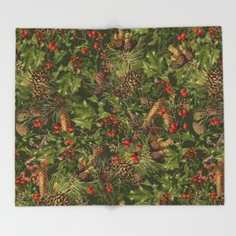 Traditional Holly Christmas Pattern Throw Blanket