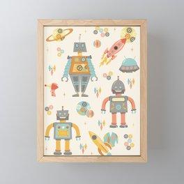 Vintage Inspired Robots in Space Framed Mini Art Print