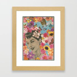 Vintage woman with sunflowers and butterflies Framed Art Print