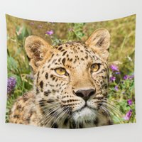 leopard Wall Tapestries featuring LEOPARD LOVE by Catspaws