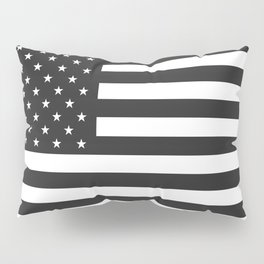 American Flag Stars and Stripes Black White Pillow Sham