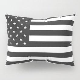 American Flag Stars and Stripes Black White Pillow Sham