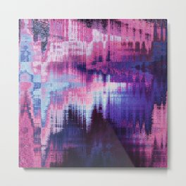 Violet Abstract Glitch effect Metal Print
