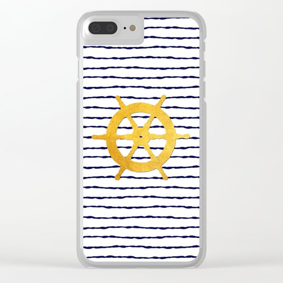 Marine pattern- Navy blue white striped with golden wheel Clear iPhone Case